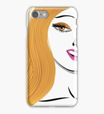 Blond girl with yellow eyes iPhone Case/Skin