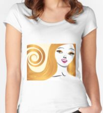 Blond girl with yellow eyes Women's Fitted Scoop T-Shirt