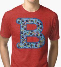 Soot Sprites Letter B Blue Tri-blend T-Shirt