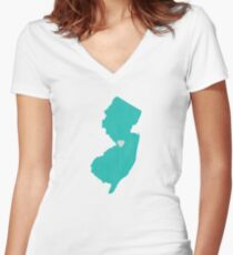 New Jersey Love in Teal Women's Fitted V-Neck T-Shirt