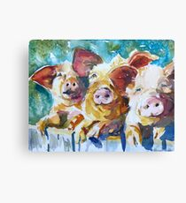 Pig Painting Mixed Media Canvas Prints Redbubble