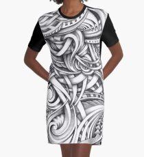 Escher Like Abstract Hand Drawn Graphite Gray Depth Graphic T-Shirt Dress