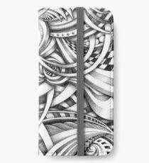 Escher Like Abstract Hand Drawn Graphite Gray Depth iPhone Wallet/Case/Skin