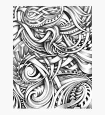 Escher Like Abstract Hand Drawn Graphite Gray Depth Photographic Print