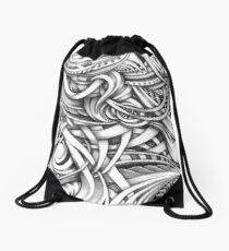 Escher Like Abstract Hand Drawn Graphite Gray Depth Drawstring Bag