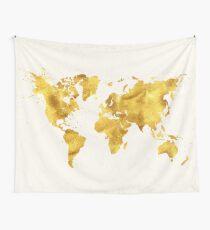 24 Karat World, faux gold world map Wall Tapestry