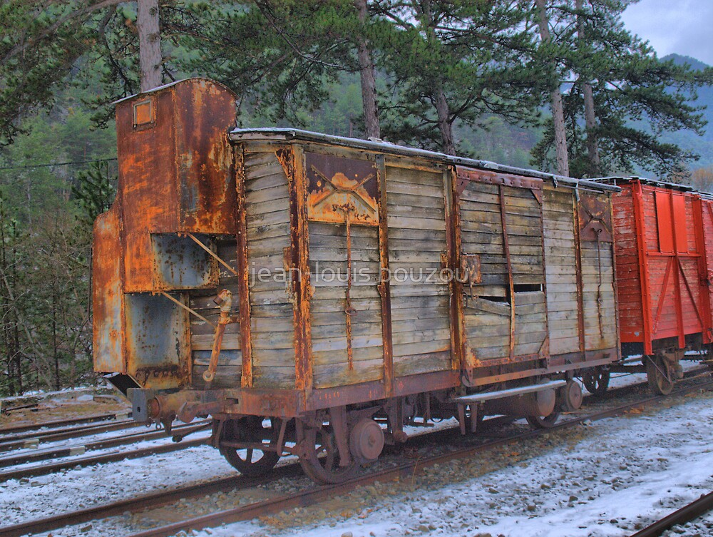 "Ancient train wagon of the ""Train des Pignes"" (train of pine nuts) by jean-louis bouzou"
