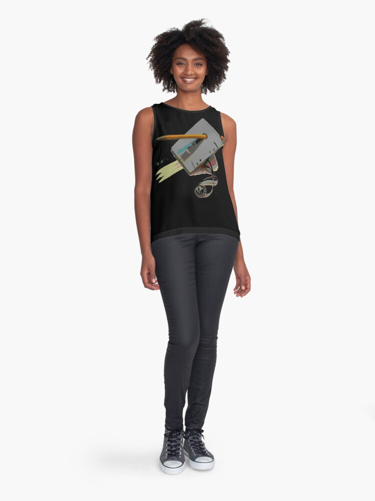Alternate view of tape and pencil loose tape  Sleeveless Top