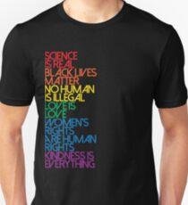 Camiseta unisex La ciencia es real negro vive la materia