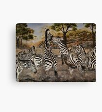 """Zebra Stallions"" - Oil Painting Canvas Print"