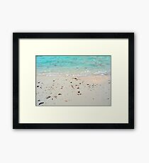 Turquoise water at the beach with light sand Framed Print