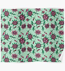 Peachy Pink Floral on pale green Poster