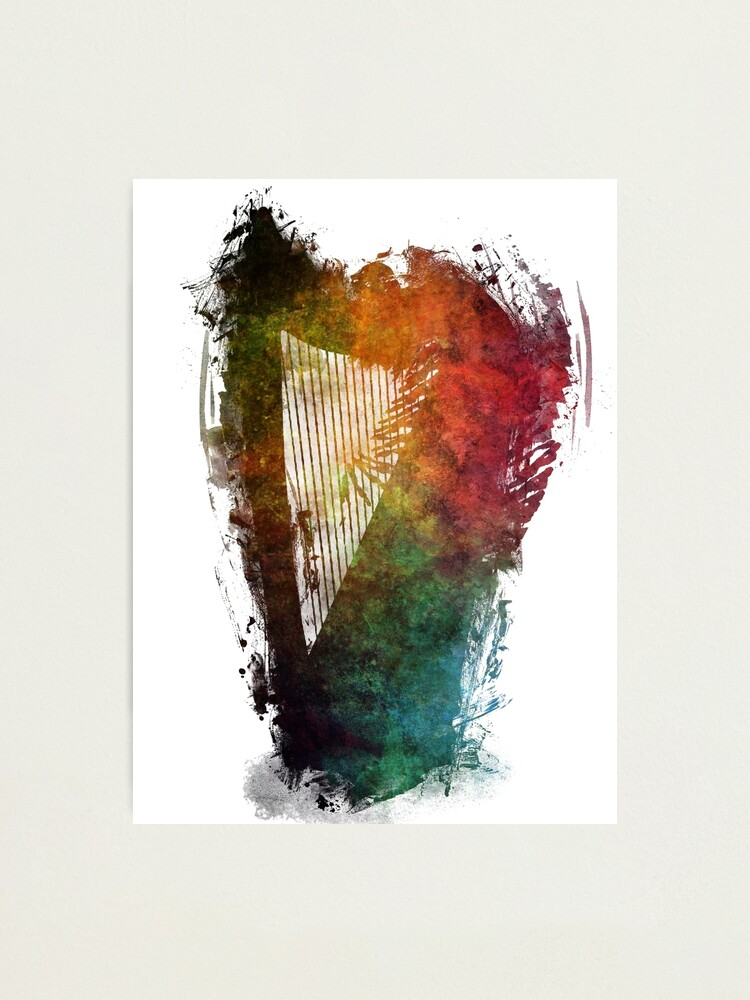 Alternate view of Harp colored instrumental music Photographic Print