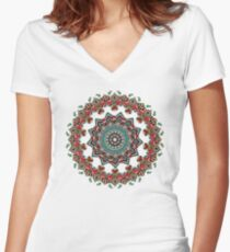 Mandala Christmas Pug Women's Fitted V-Neck T-Shirt