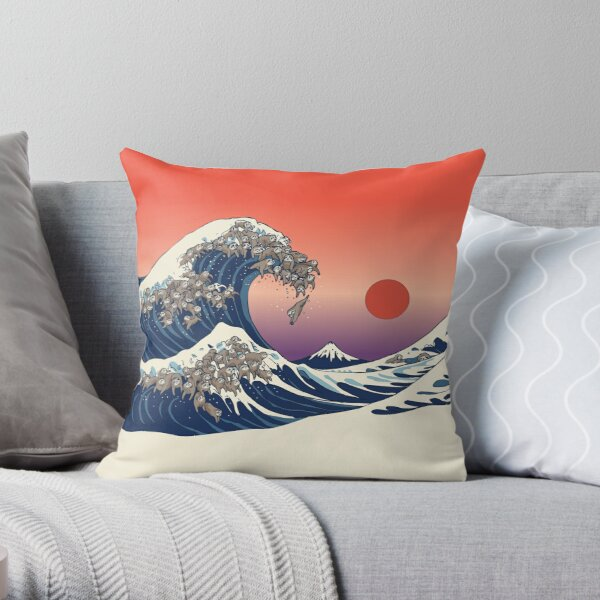 The Great Wave of Sloth Throw Pillow