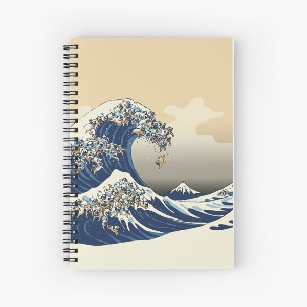 The Great Wave of Pugs Vanilla Sky Spiral Notebook