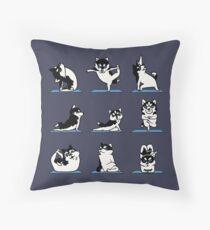 Husky Yoga Throw Pillow