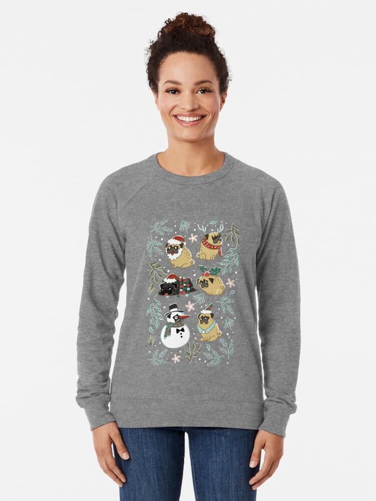 Alternative Ansicht von Weihnachtspugs Leichter Pullover