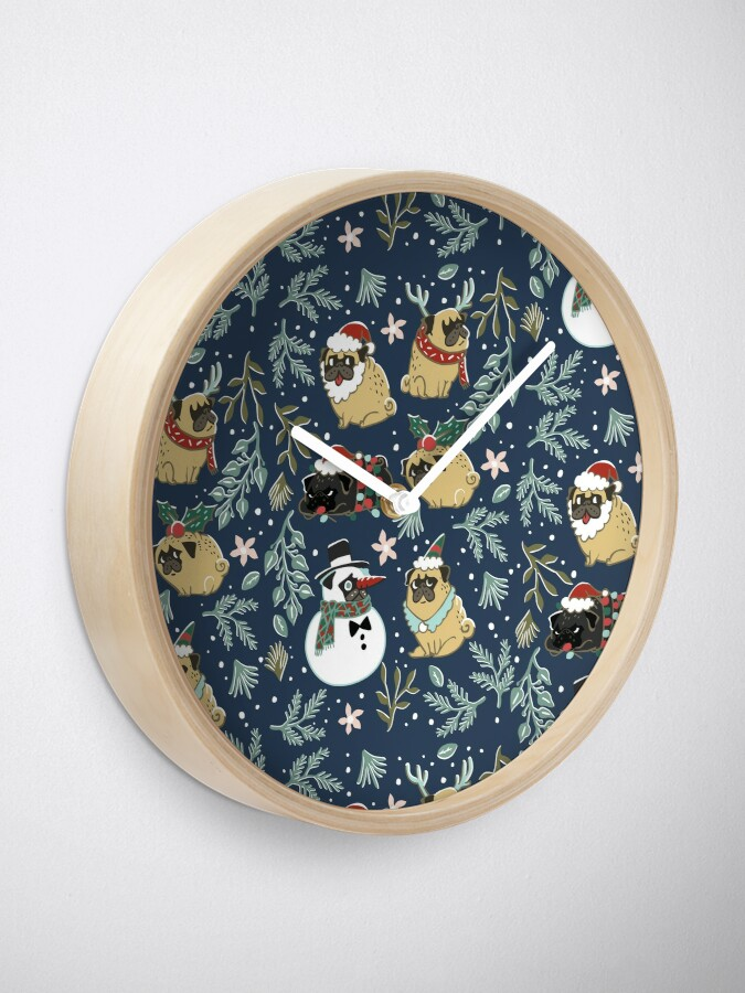 Alternative Ansicht von Weihnachtspugs Uhr