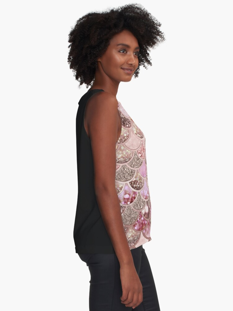 Alternate view of Rosegold Pink Sparkle Faux Glitter Mermaid Scales Sleeveless Top