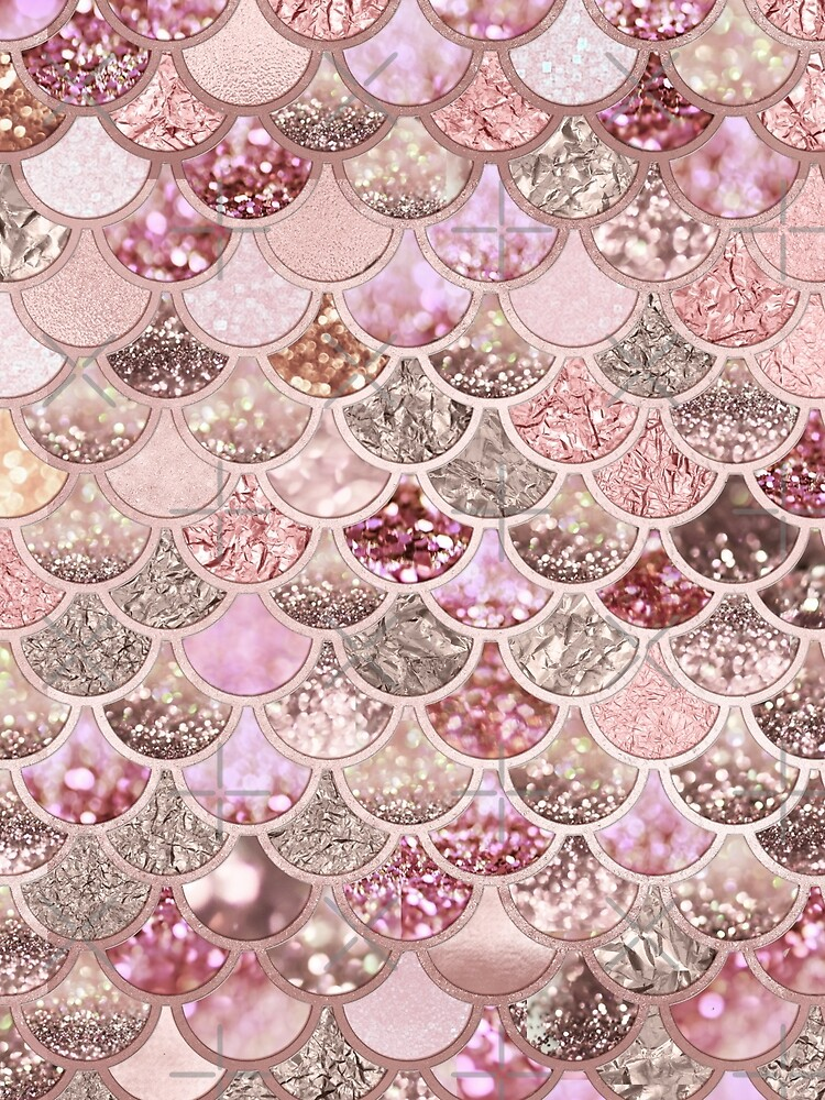 Rosegold Pink Sparkle Faux Glitter Mermaid Scales by UtArt