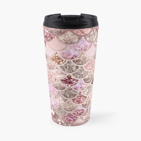 Rosegold Pink Sparkle Faux Glitter Mermaid Scales Travel Mug