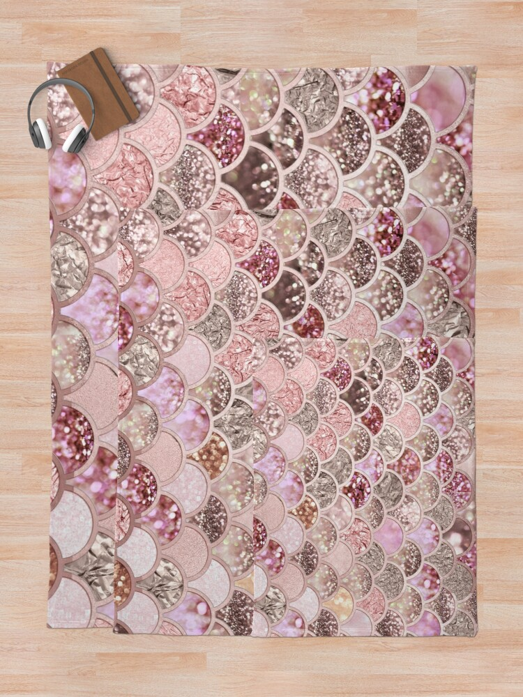 Alternate view of Rosegold Pink Sparkle Faux Glitter Mermaid Scales Throw Blanket