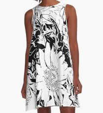 Inky Black and White Floral 1  A-Line Dress