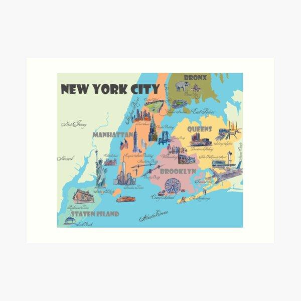 New York City NY Highlights Map Art Print