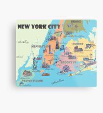 New York City NY Highlights Map Metal Print