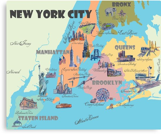 'New York City NY Highlights Map' Canvas Print by artshop77 Map New York on east coast map, michigan map, tennessee map, manhattan map, kansas map, minnesota map, nyc map, maryland map, california map, indiana map, nebraska map, north carolina map, texas map, alabama map, utah map, montana map, florida map, maine map, mississippi map, ny map, long island map, oklahoma map, nj map, ohio map, jfk airport map, new hampshire map, wisconsin map, bronx map, brooklyn map, pennsylvania map, new jersey map, nevada map, missouri map,