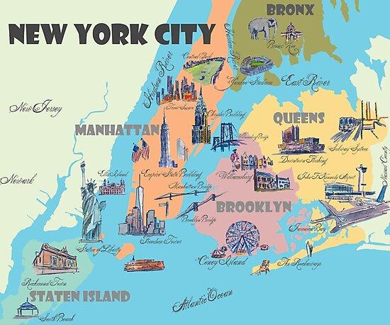 U0026quot New York City Ny Highlights Map U0026quot  Photographic Print By Artshop77