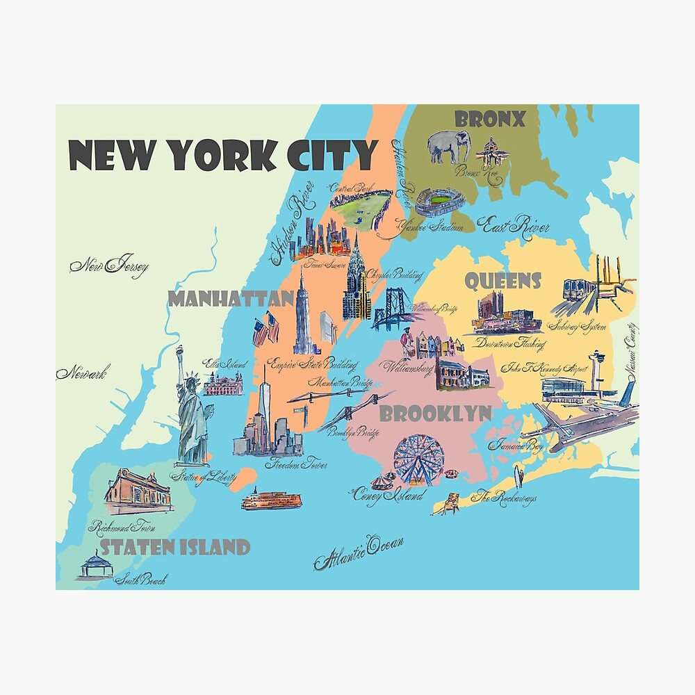 photo regarding Nyc Tourist Map Printable known as Clean York Metropolis NY Highlights Map Photographic Print