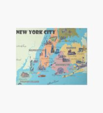 New York City NY Highlights Map Galeriedruck