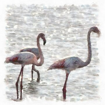 Three Flamingos Watercolor by taiche