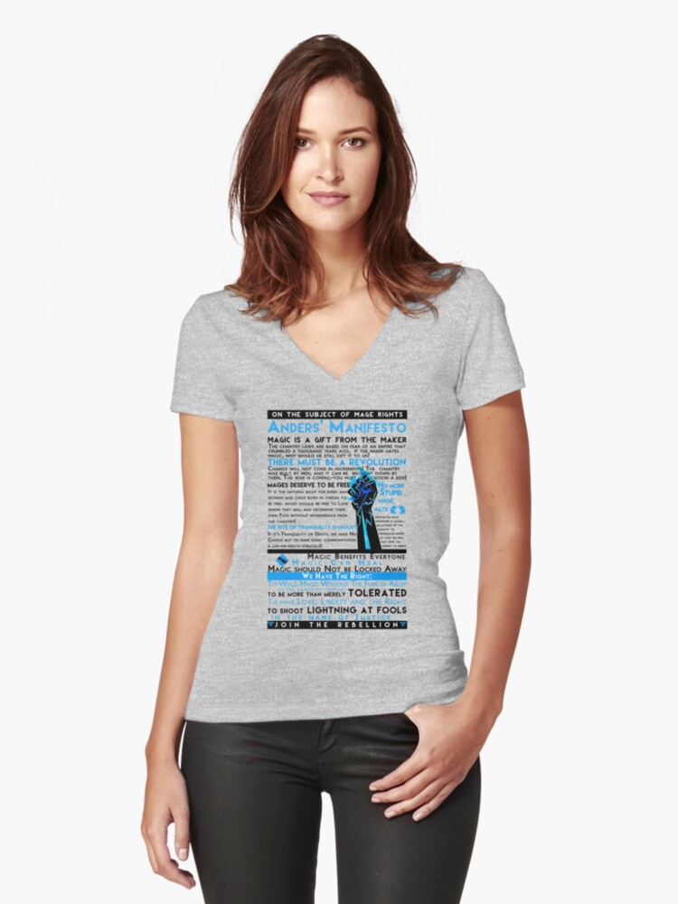 af90c74e3d8f1 'Anders' Manifesto' Women's Fitted V-Neck T-Shirt by feralkiwi
