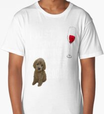 Great Gift For Cockapoo Lover. T-Shirt For Wine Lover. Long T-Shirt