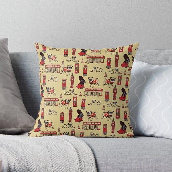 London Pug Throw Pillow