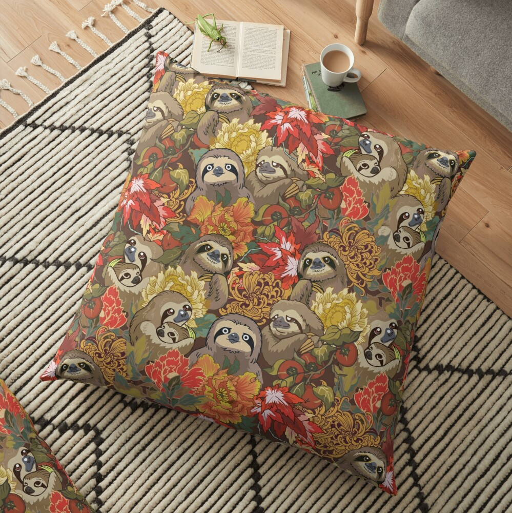 Because Sloths Autumn Floor Pillow