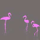 We Are The Three Flamingos Silhouette In Pink by taiche