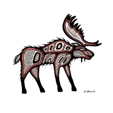 traditional moose by Mangeshig