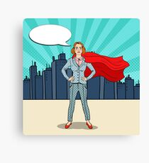 Pop Art Confident Business Woman Super Hero in Suit with Red Cape.  Canvas Print