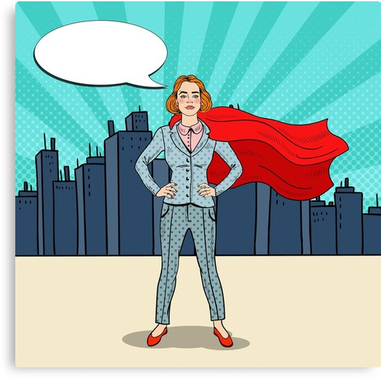 Pop Art Confident Business Woman Super Hero in Suit with Red Cape.  by ivector