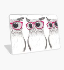 Nerdy Owl with Pink Laptop Skin
