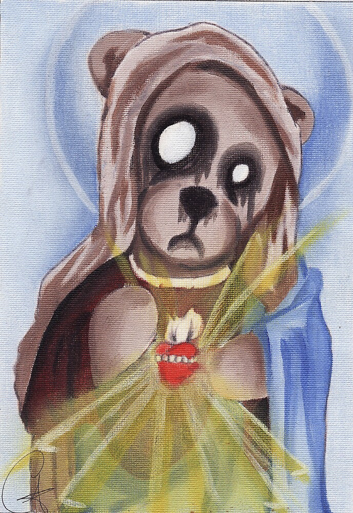 Our ZomBear of Fatima, oil on canvas by chriszenga