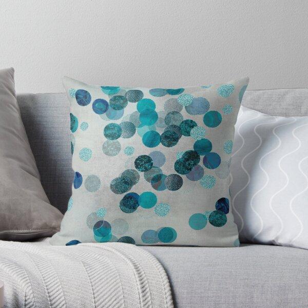 Shiny Glamour Dots Blue Aqua Teal Pattern Glitter Glam Throw Pillow