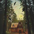 Cabin in the woods, starry night by Wieskunde