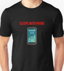 Sleeps with Cell Phone Color Dark Unisex T-Shirt