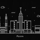 Mecca Skyline Minimal Line Art Poster by A Deniz Akerman