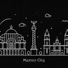 Mexico City Skyline Minimal Line Art Poster by A Deniz Akerman